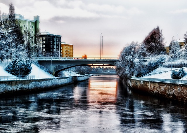 oulu, finland, city, cities, urban, canal, water