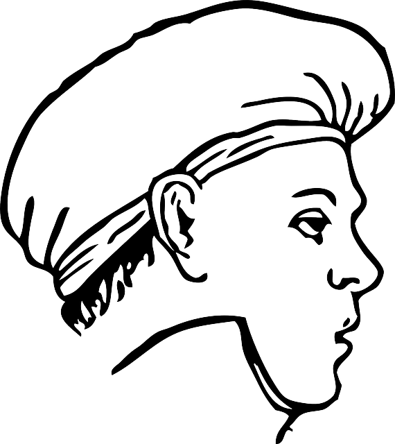 outline, clothing, cap, cook, kitchen, coloring