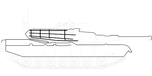 outline, drawing, silhouette, cartoon, tank, abrams