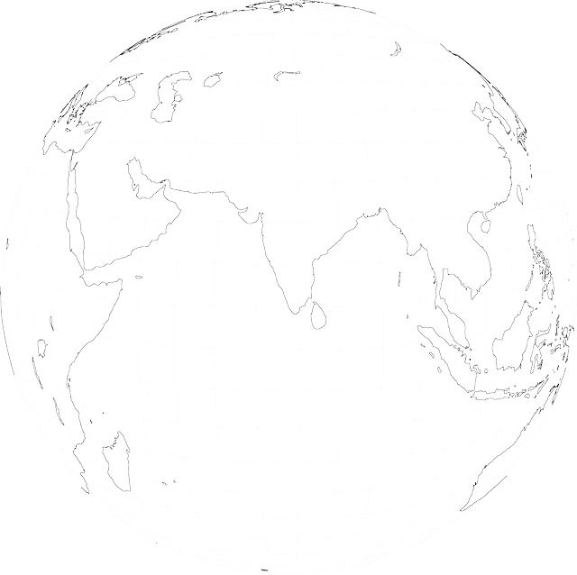 outline, globe, earth, from, india, grid, space, viewed