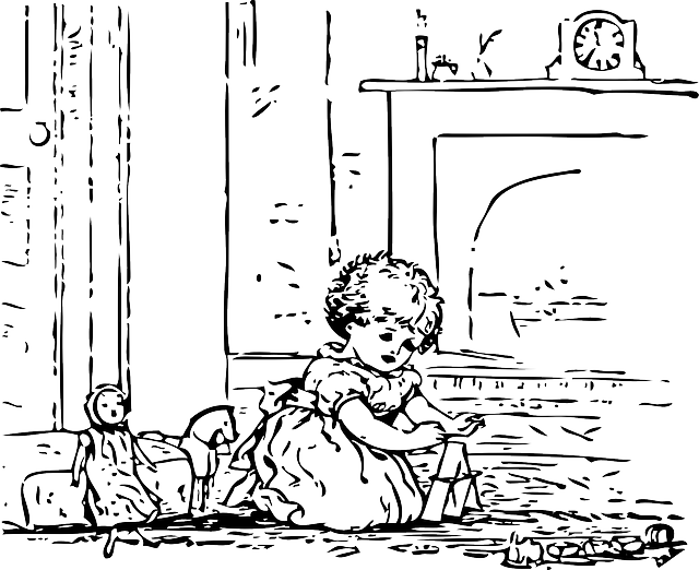 outline, kid, girl, time, play, playing, dolls