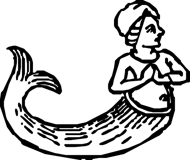 outline, lady, human, mermaid, fish, animal, tail, fin