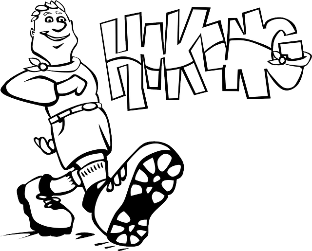 outline, people, boy, kid, cartoon, hiking, boot