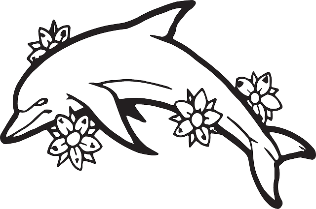 outline, plants, flowers, dolphin, ocean, sea, and