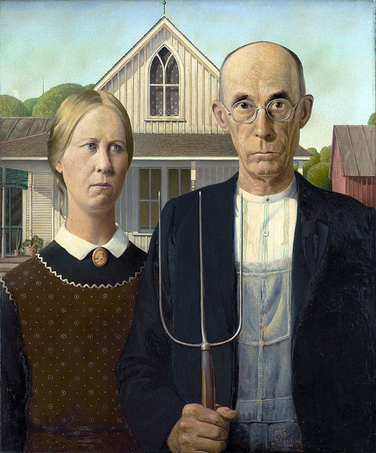painting, grant wood, man, woman, farmers, couple, 1930