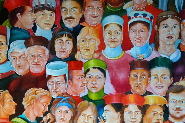 painting, human, faces, middle ages, image, colorful