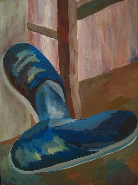 painting, still life, shoes, paint, image, color, art