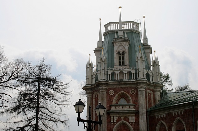 palace, gothic, russian, building, red, white, light