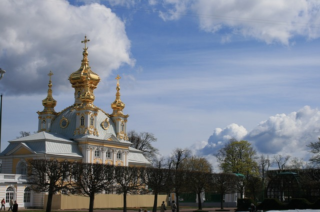 palace, ornate, garden, sky, clouds, peterhof
