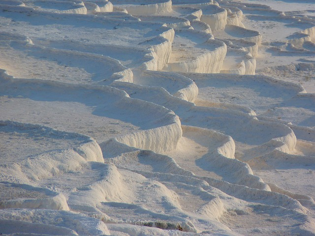 pamukkale, lime sinter terrace, calcium, white, hell