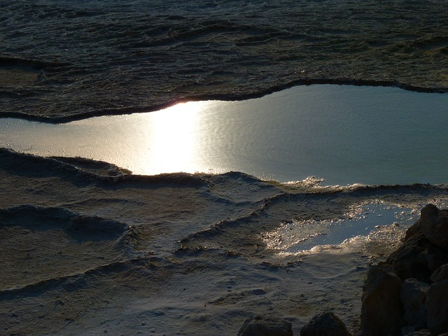pamukkale, lime sinter terrace, reflection, calcium