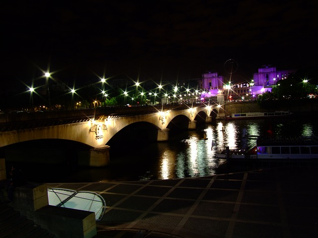 paris, france, bridge, river, water, reflections