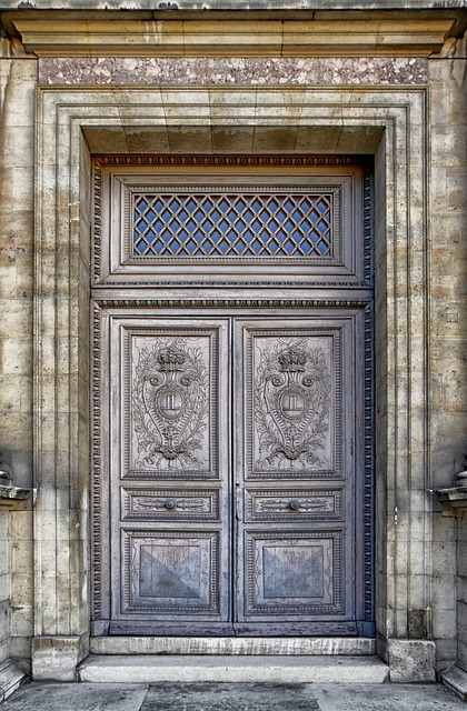 paris, france, louvre palace, building, door, doorway