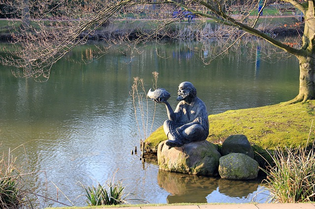 park, see, pond, water, tree, spring, sculpture