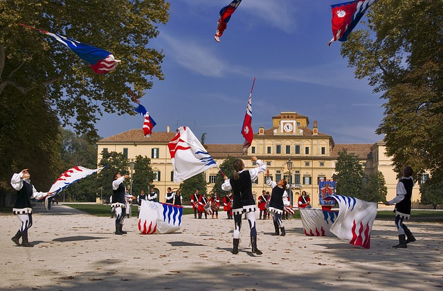 parma, italy, landscape, boys, girls, twirling, flags