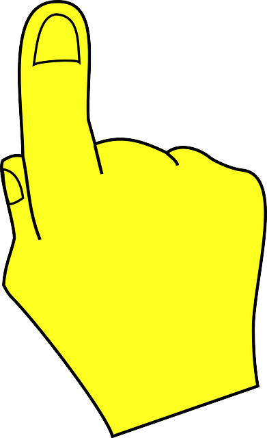 part, yellow, hand, human, cartoon, pointing, finger