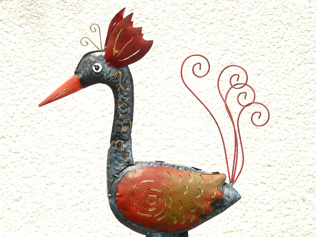 peacock, chicken, hahn, hen, bird, colorful, fig, metal
