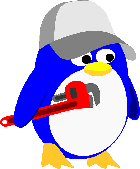 penguin, linux, plumber, tux, wrench, cap