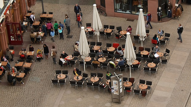 perspective, top, gastronomy, human, chairs
