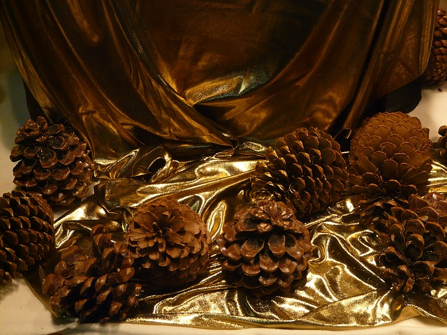 pine cones, decoration, christmas, window, cloth