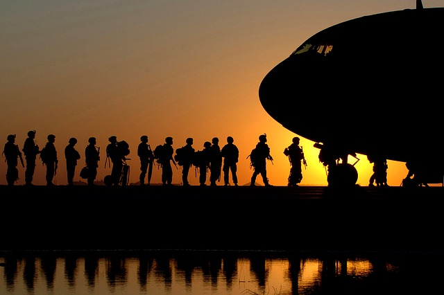 plane, soldiers, sunrise, sky, clouds, aircraft