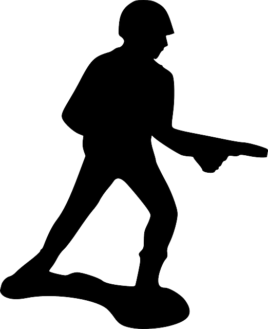 point, silhouette, toy, gun, run, walk, soldier