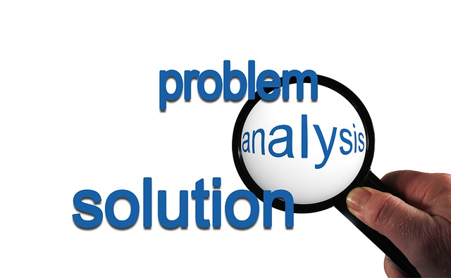 problem, analysis, solution, hand, magnifying glass