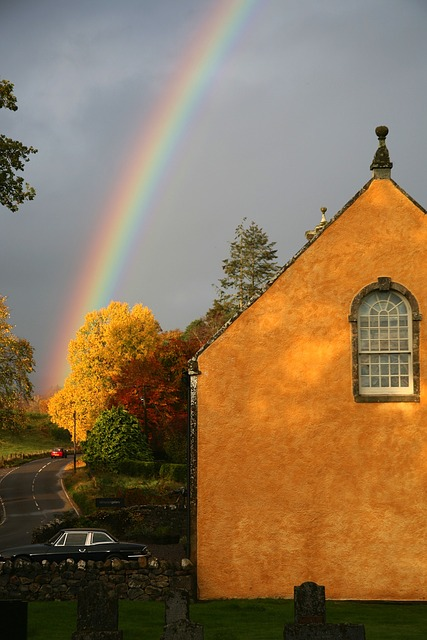 rainbow, building, house, fall, autumn, colors