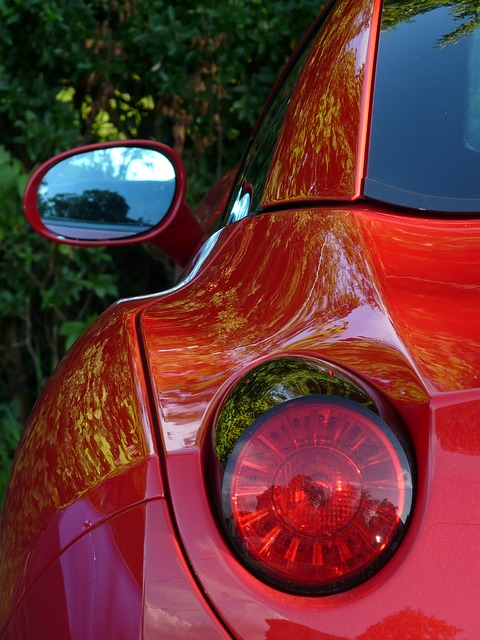 rear mirror, back light, auto, ferrari, brake light