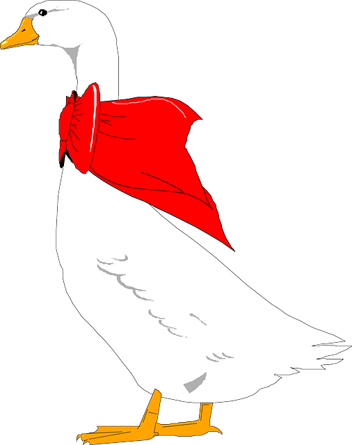 red, bird, wings, bow, goose, neck, animal, decoration