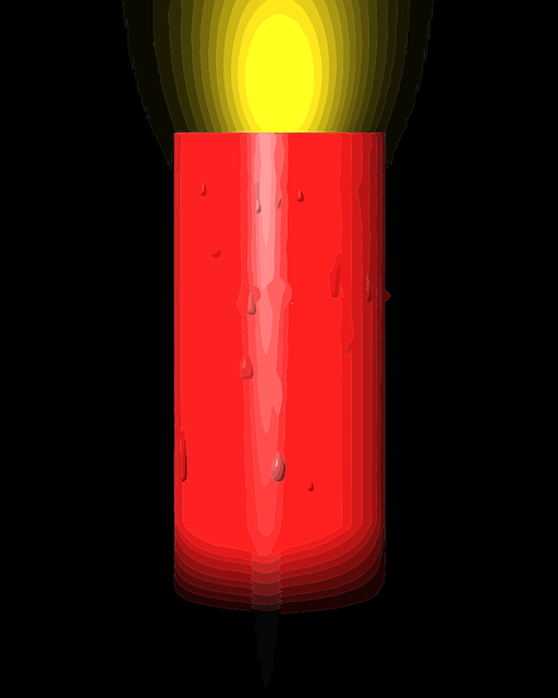 red, black, candle, yellow, lamp, light, shine