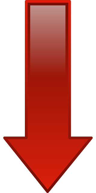 red, computer, icon, arrow, cartoon, shapes, down