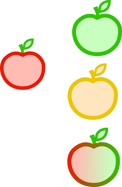 red, green, apple, food, apples, yellow, cartoon