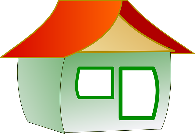 red, house, home, green, simple, shapes, triangle