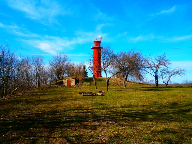 red, lighthouse, sky, green, spring