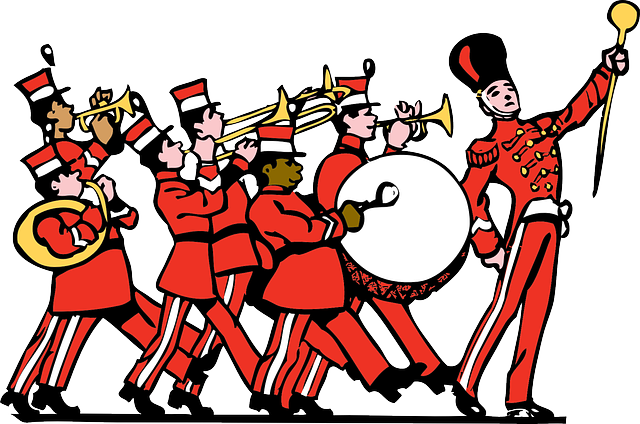 red, music, drum, people, silhouette, kids, march