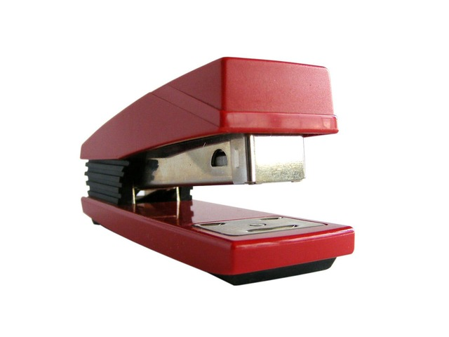 red, office, stapler, white