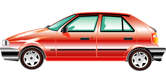 red, old, view, profile, car, cartoon, transportation
