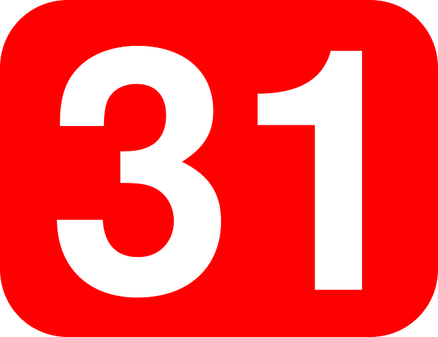 red, one, white, number, background, thirty