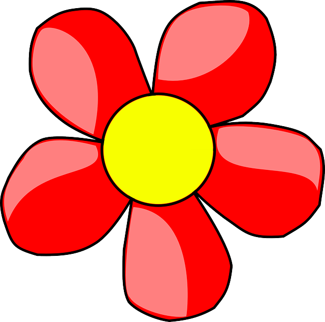 red, outline, yellow, plants, flower, white, flowers