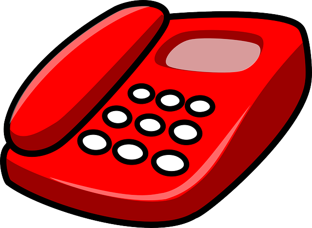 red, phone, icon, office, cartoon, telephone, free