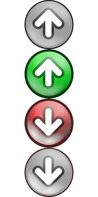 red, point, green, arrow, down, direction, grey