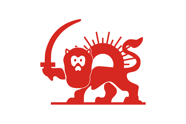 red, sun, sword, lion, holding, with