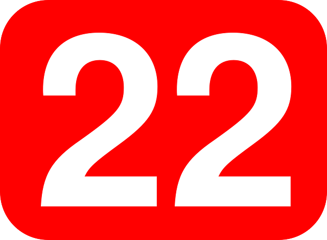 red, two, white, number, rounded, rectangle, twenty, 22