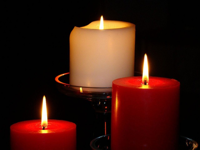 red, white, light, candles, burn, glass