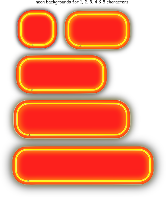 red, yellow, shapes, neon, numerals, backgrounds