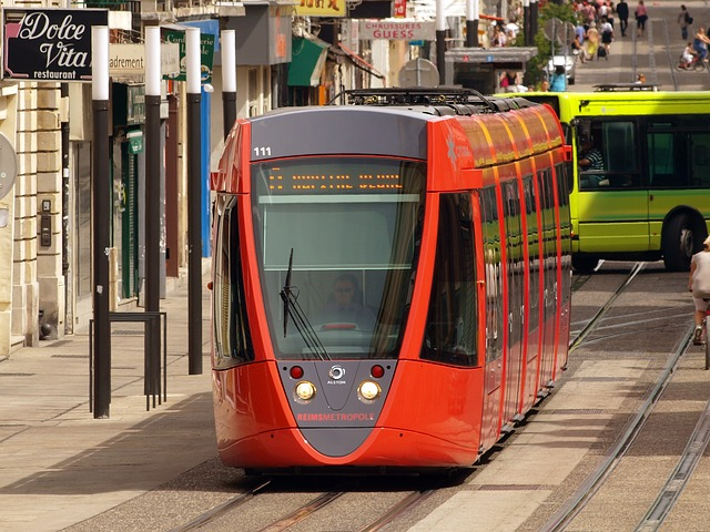 reims, france, tram, shuttle, vehicle, railway