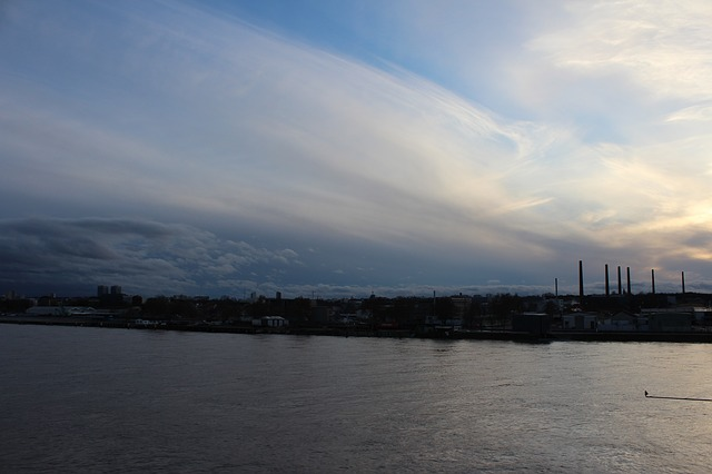 rhine, high water, sachsen, river, sky, clouds