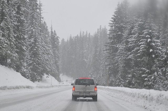 road, car, auto, winter, snowed in, scenery, foggy