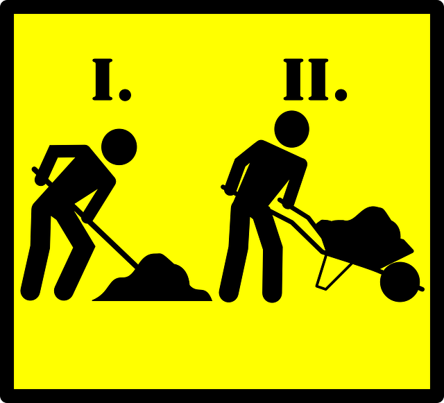 road sign, road work, men, worker, sand, road, work